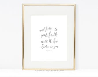 According to Your Faith Will It Be Done To You, Printable Wall Art, Wall Art, Christian Art, Watercolor print, Christian Gift, Scripture