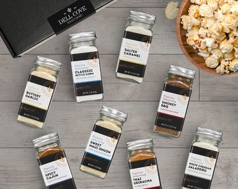 Popcorn Lover Gift Set Featuring 8 Jar Gourmet Popcorn Seasoning Set of Our Most Popular Flavors - Deluxe Gift Box