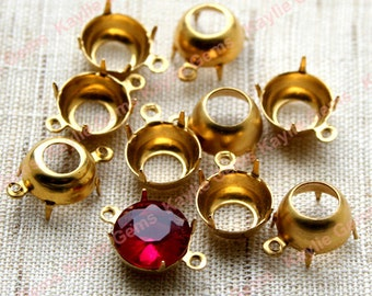 SS45 10mm Round Raw Brass Open Back Prong Settings 1 Ring / 2 Ring - 12 pcs