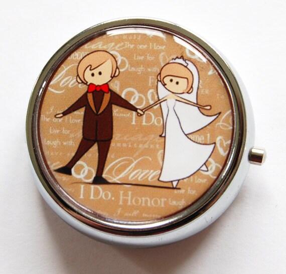 Gift for bride, Pill Case, wedding shower gift, bridal, bridal shower gift, pill box for bride, bride, groom, brown, wedding day (873)