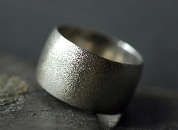 1/2 Inch Textured Sterling Silver Band- Custom