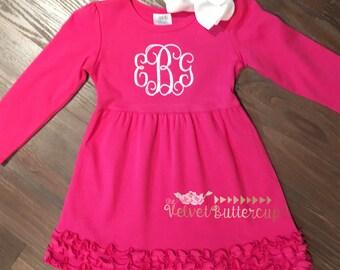 Monogrammed Dress - Monogram Dress - Personalized Dress - Pink Monogrammed Dress - Embroidered Dress - Knit Dress