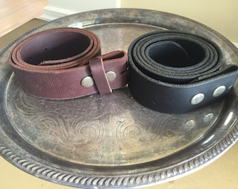 Genuine leather belts for buckles in black