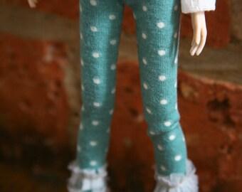 Jiajiadoll-blue dots laced legging fits Momoko or Blythe or Misaki
