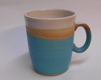 Turquoise satin finish textured stoneware mug