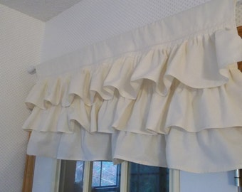Multi Ruffle Curtain Custom Ruffled Valance Natural Cotton Topper French Country Cottage Style Window Treatment French Prairie Cottage Chic
