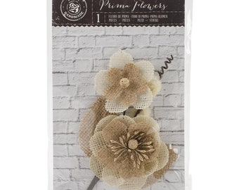 "5""  Burlap Floral Stem in Natural Shades, Prima Marketing (580971)"