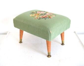 Vintage Ottoman - Needlepoint Top - Mid Century Modern Table Legs
