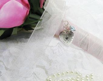 Heart Bouquet Locket, Little Silver Heart Bouquet Locket, Heart locket, Brides Bouquet,For the Bride, in Memory of
