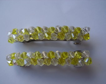 Yellow and clear beaded hair clip, beaded barrette, hair accessory