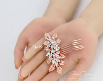 Wedding Hair Comb Rose gold Rhinestone Hair Comb Wedding Jewelry Bridal Hair Comb Bridesmaid Comb Bridal Jewelry Hair Piece Daisy