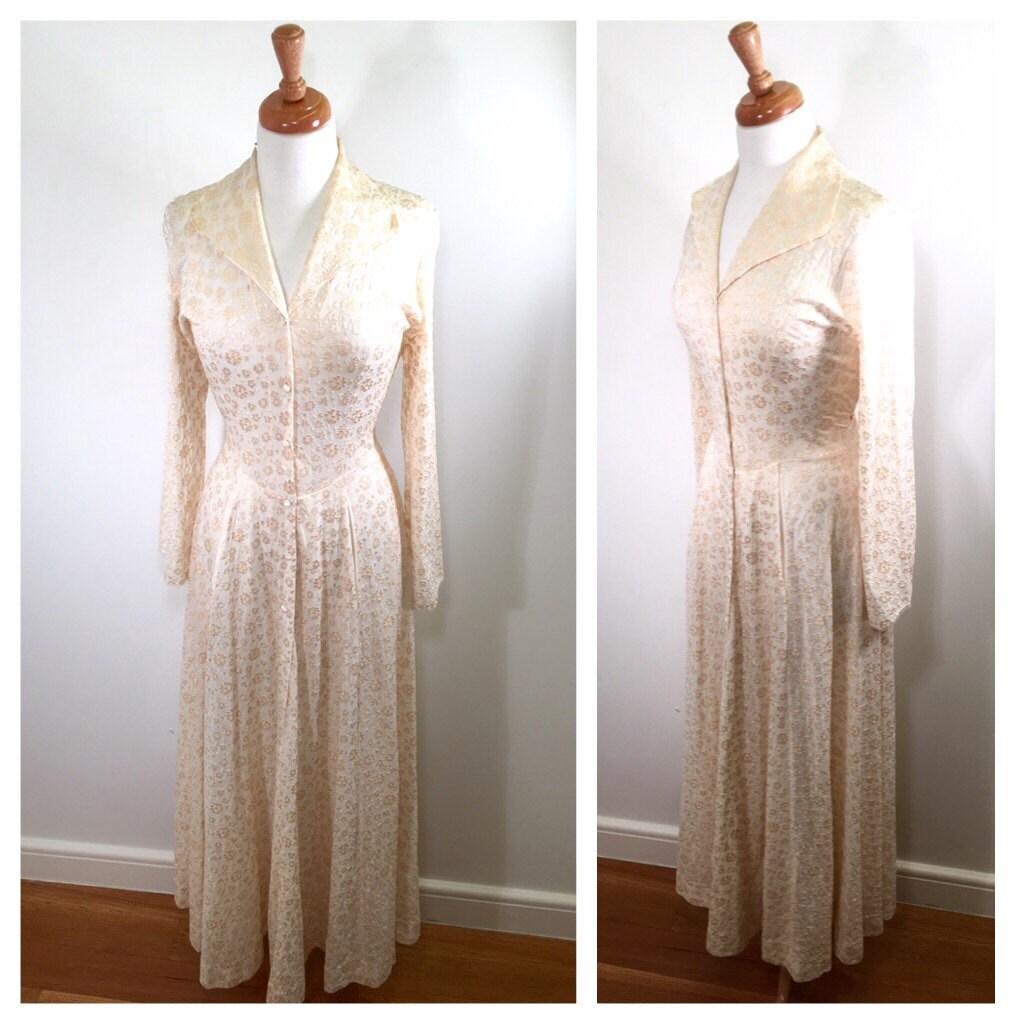 1950er Jahre weiß Duster Kleid Vintage Creme Druck Maxi