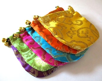 6 Silk Jewelry Bags | Drawstring Bags | Fabric Bags | Jewelry Pouch | Jewelry Storage | Favor Bags | Gift Bags | Cloth bags | Brocade Bags