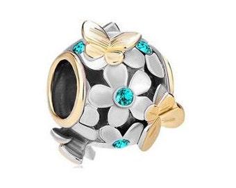 Butterfly bead, Charm Bracelet Bead, Aquamarine Bead, Charm bead, Large Hole Bead, European Bead, Pugster Bead, 4mm hole
