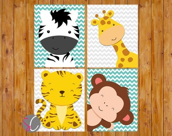 Jungle Animals Nursery Wall Art Decor Giraffe Zebra Monkey Tiger Chevron Grey turquoise Gender Neutral 8x10 JPG Files Instant Download (77)