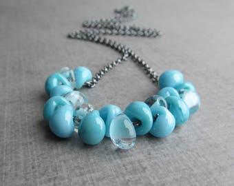 Blue Necklace Oxidized Silver, Blue Glass Drop Necklace, Oxidized Sterling Silver Necklace Blue, Robins Egg Blue, Powder Blue, Sky Blue Bead