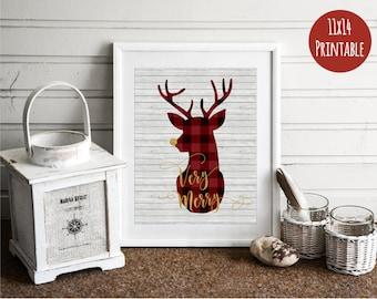 11x14 christmas decor buffalo plaid christmas deer christmas decorations christmas print