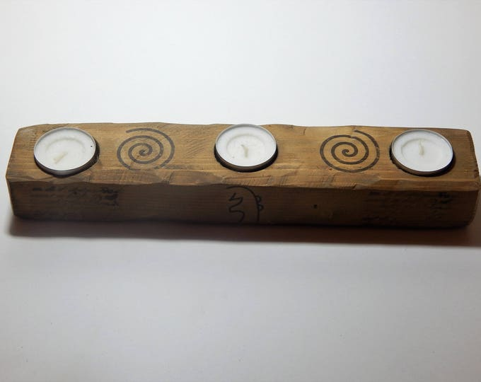 Reiki candle holder,decoupage on wood,spiral holder,reiki holder