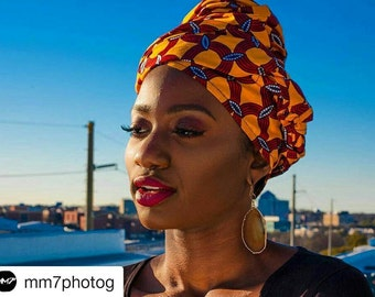 FREE U.S. Shipping Mena Mode African print fabric wax for gele or headwrap