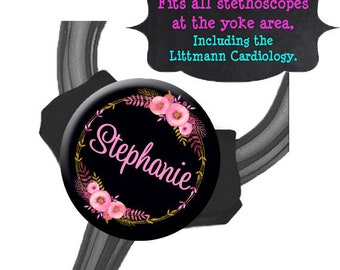 Yoke Stethoscope Tag - Pink Gold Floral - Fits all Steths at the Yoke including the Littmann Cardiology / Steth Tag / Nurse Badge