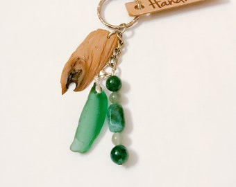 Driftwood Sea glass key ring, Wedding favour gift, Scottish seaglass keychain, beach glass, handmade keyring, moss agate, keepsake, Silver