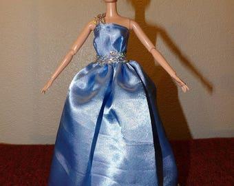 Elegant light blue Satin formal dress with Tulle slip & silver trim for Fashion Dolls - ed1031