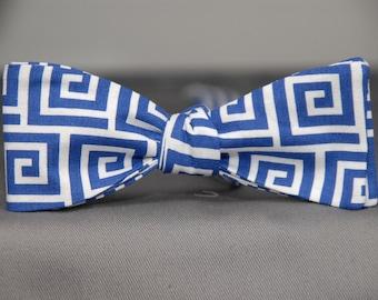 Blue & White Greek Keys  Bow Tie