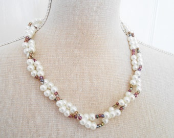 White pearl and purple beads, wedding jewelry, bridesmaid gift, cheap gifts, trending necklace, birthday gift, gift shop