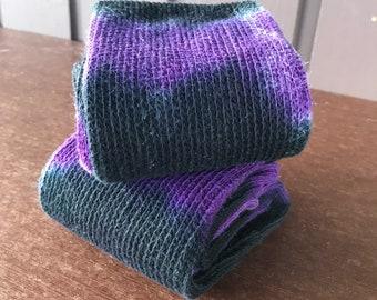 Tie Dye Thigh High Cotton Socks - Black and Purple 2