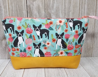 Zippered Cosmetic Bag with Leather Bottom, Zipper Pouch, Toiletry Bag, Makeup Bag, Travel Bag, Notions Pouch, Purse Organizer, Zipper Bag