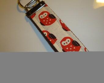 Red Owl Wristlet Keychain