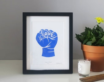Love Is Power Screen Print Limited Edition Blue Art