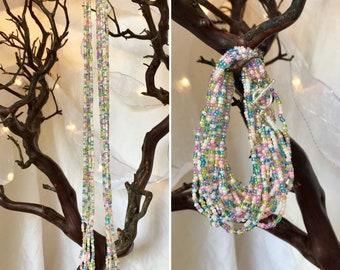 Pastel Seed Bead Necklace/Wrap Bracelet