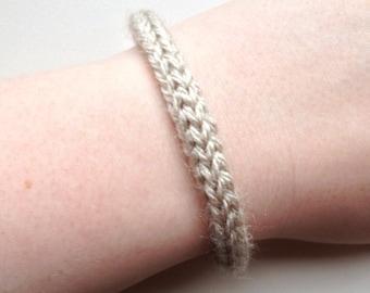 Handmade bracelet, knitted bracelet, yarn bracelet, beige bracelet, knit bracelet, knit jewelry