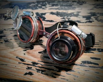 Glasses naturalistic adventurer engineer goggles, steampunk Aviator scientific magnifying halloween