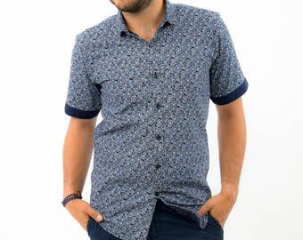 Blue Half Cashmere Motif Prints Shirts