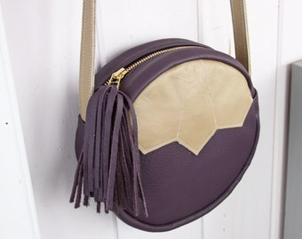 Round Cross-Body Bag in Plum + Tan Leather - Deco