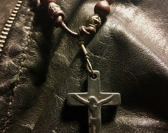 Carved Stone Crucifix necklace