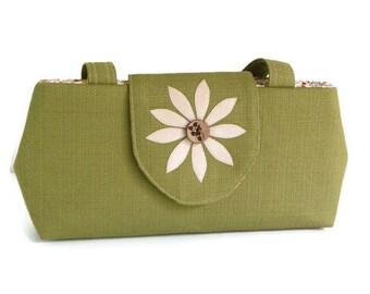 SALE - Jewel Cut Purse - Flower Applique - Coconut Button -  Sage Green - Vegan Shoulder Bag