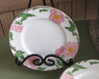 Franciscan Desert Rose Salad Plates England Backstamp 1976 - 1984 Hand Painted Set of Eight (8) Vintage Dinnerware and Replacements