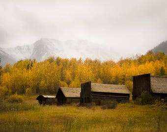 Mountain photo, ghost town photo, aspen trees fall, Colorado art, rustic western photo, Ashcroft, rustic home decor, log cabin decor, aspens