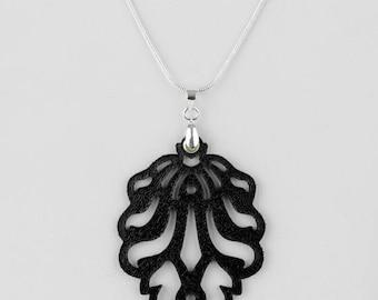 "Laser Cut Leather Pendant ""Falling leaves""-smaller in Black, White or Metallic blue"