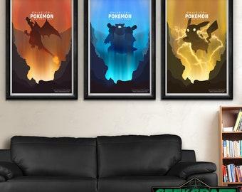 Pokemon, Pocket Monsters, Red, Blue, Yellow, Pikachu, Gameboy, Original,Miyazaki,Version,Pokemon Posters, Pokemon Art,Pokemon Game Print Set