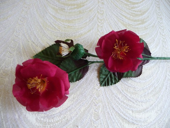 Vintage small silk wild roses and buds deep red nos millinery spray vintage small silk wild roses and buds deep red nos millinery spray for corsage floral crowns hair pins crafts dolls from apinkswan on etsy studio mightylinksfo
