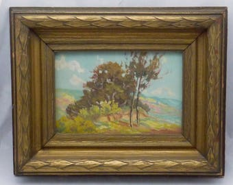 Vintage Peter Lanz Hohnstedt Texas Regionalist Small Oil Painting Drifting 23133