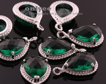 2pcs-19mmX12mmRhodium Faceted tear drop glass with rope rim pendants-Emerald(M316S-L)