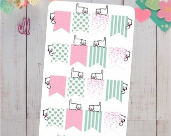 Kitty Flag Planner Stickers