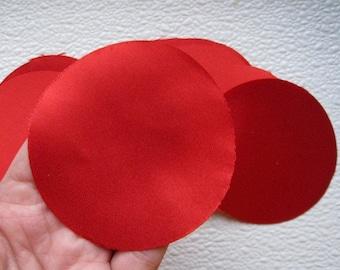 30 pcs 3 inches Hand cut Fabric Circles -  Red - Bridal Satin