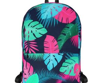 Tropical flowers dark, Backpack