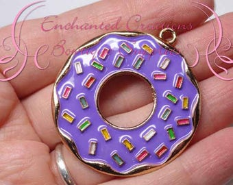 "2"" Purple with Multicolor Sprinkles Sweet Treat Donut, Chunky Pendant, Bookmark, KeyChain, Bookmark, Zipper Pull, Planner Charm, Purse Charm"